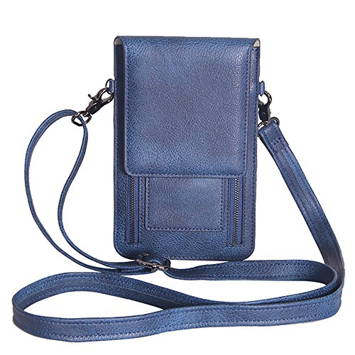 Pouch Zipper Strap Leather Cell Purse Leather Wallet Double Crossbody Phone Lightweight Bag Small JUMENG Blue q54t6wnWOW
