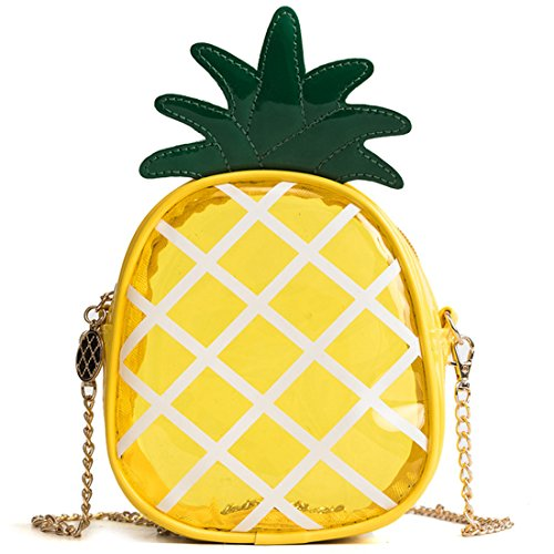 (Latest Novelty Cute Clear Pineapple Shape Shoulder Mini Bag for Women)