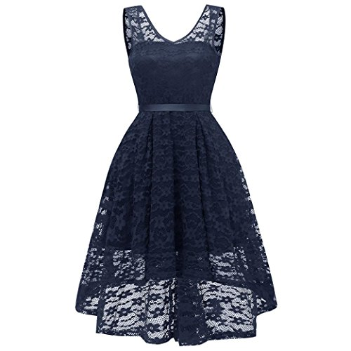 Dress Womens UOFOCO Dress Wedding Navy Long Lace for Bridesmaid Y Ladies Sleeveless Formal 3 wnqfRH4