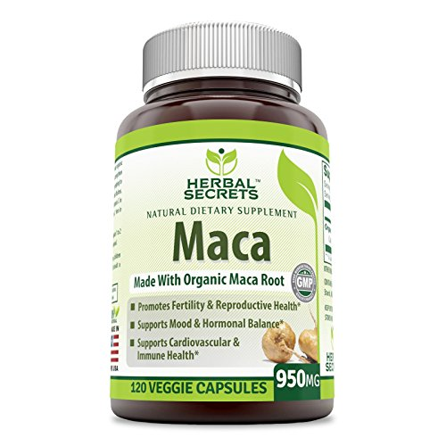 Herbal Secrets Organic Maca 950mg 120 VCAPS - Gelatinized for Enhanced Bioavailability - GMO Free- Supports Healthy Mood, Hormonal Balance, Cardiovascular Health & Immune Health