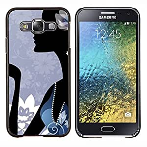 EJOOY---Cubierta de la caja de protección para la piel dura ** Samsung Galaxy E5 E500 ** --Minimalista Abstracto Azul Moda