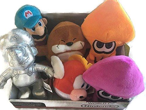 Setof 6 NINTENDO World of Nintendo Plush Bundle Set Cheep Cheep, Ice Mario, Metal Mario, Monty Mole, Orange Squid and Purple