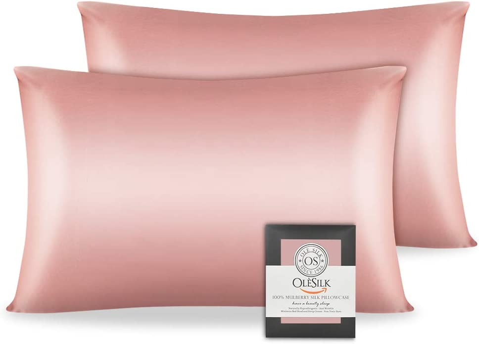 OLESILK 100% Mulbery Silk Pillowcase 2 Pack with Hidden Zipper for Hair and Skin Beauty,Both Sides 19mm Charmeuse Gift Box - Coral Pink, Queen