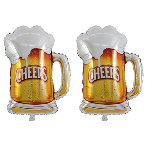 TOYMYTOY Beer Mug Cheers Shape Foil Balloons,Mylar Helium Balloons Party Decor,2 Pcs]()