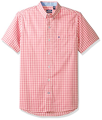 IZOD Men's Advantage Performance Non Iron Stretch Short Sleeve Shirt, Rapture Rose, X-Large