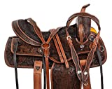 AceRugs Premium Hand Tooled Antique Oil Leather Western Pleasure Trail Barrel Racing SEMI Quarter Horse BAR Saddle Free TACK Set Headstall REINS Breast Collar