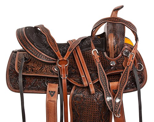Tack Western (AceRugs All Natural Cowhide Western Leather Horse Saddle Comfy SEAT Pleasure Trail Barrel Racing Hand Tooled Premium Saddle TACK Set Bridle Breast Collar (16))