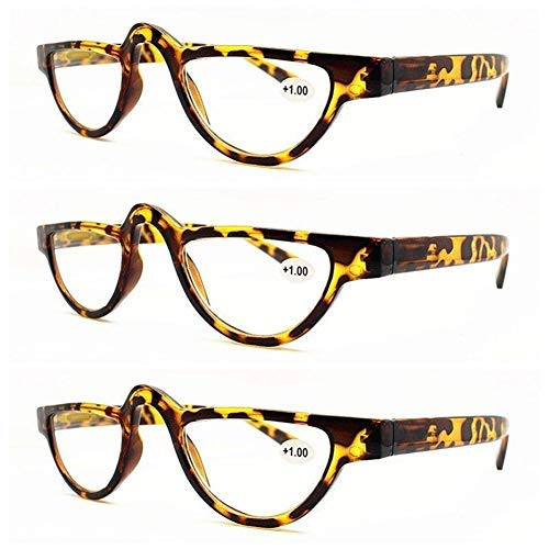 (AMILLET 3 Pack Unisex Half Moon Reading Glasses,Retro Vintage Spectacles Readers for Women and Men Red Tortoise +3.50)