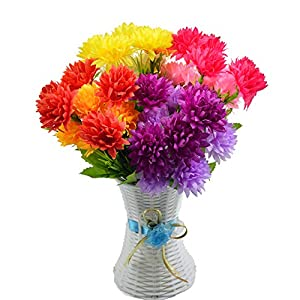 EDINSY Chrysanthemum Fabric Cloth Daisy Artificial Flowers 4 Bundle Fake Silk Plants Decor Wedding Party Decoration Bouquets Real Touch DIY Home Garden 41