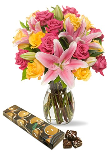 Benchmark Bouquets Big Blooms, With Vase and 8-piece - Chocolates Delivery
