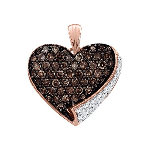 10k Rose Gold Brown Diamond Heart Pendant Love Charm Fashion Chocolate Round Cluster Style Fancy 7/8 Cttw (Brown Necklace Diamond Tdw)