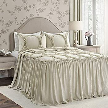 Image of 3 Piece French Country Light Khaki Bedspreads King Beautiful Solid Color Textured Ruffled Skirt Ruched Ribbon Double Helix Pattern Stitched Shabby Chic Bedding Set Lightweight Farmhouse Girl Bedding Home and Kitchen