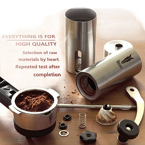MidasTM Midas Upgrade-Grind - Strongest and Heaviest Duty Portable Conical Burr Mill, Whole Bean Manual Coffee Grinder for French Press, Turkish, Handheld Mini, K Cup, Brushed Stainless Steel