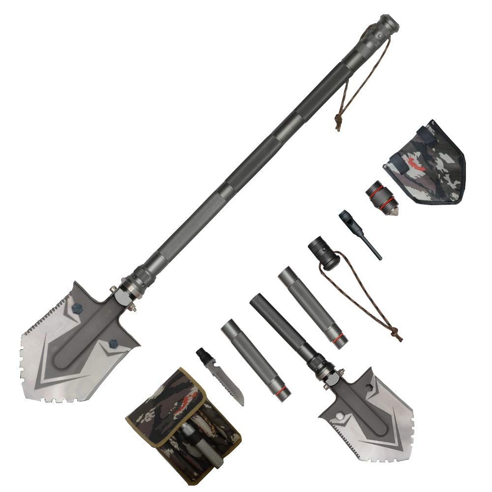 Waygan Folding Survival Shovel - Multi-Function Military Portable Camping Shovel – Compact & Durable Entrenching Tool for Camping, Adventure,Emergency, Hiking,Backpacking,Fishing