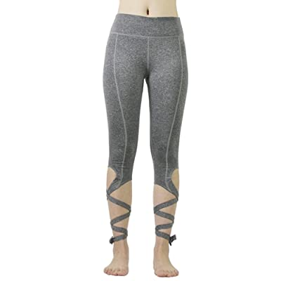 Femmes Cut Out Cravate Manchette Slim Yoga Pantalon Fitness Workout Leggings Croix Cravate Cuff Danse Ballet Leggings par Bornbayb