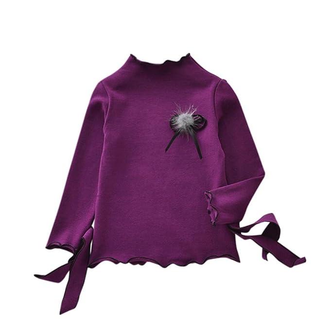 Bebé niña manga larga camiseta tops con Bowknot pelo Bola ,Yannerr Recién nacido primavera blusa