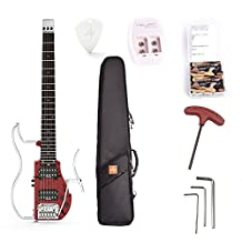 ammoon ALP Electric Guitar Foldable Headless Travel Double Humbucker Built-in Guitar Effect Ebony Fingerboard with Rechargeable Batteries Gig Bag ADS-361HCL
