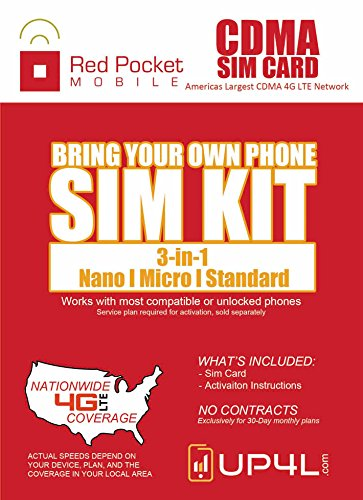 Red Pocket Mobile CDMA SIM Card Starter Kit 3 in 1 (Nano, Micro, Standard Simple No Contract Plans starting at 10/mo, Prepaid SIM will work w/most 4G LTE Verizon Phones incld iPhone android
