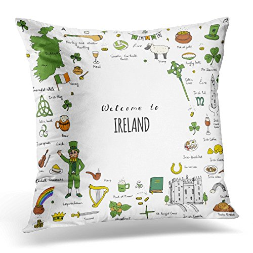 Cover Doodle Ireland Sketchy Irish Traditional Food Republic of Flag Map Celtic Cross Knot Castle Leprechaun Decorative Pillow Case Home Decor Square 18
