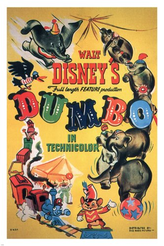 Walt Disney's Dumbo MOVIE POSTER 1941 24X36 VINTAGE CARTOON Rare collectible (reproduction, not an - Poster Disney Movie