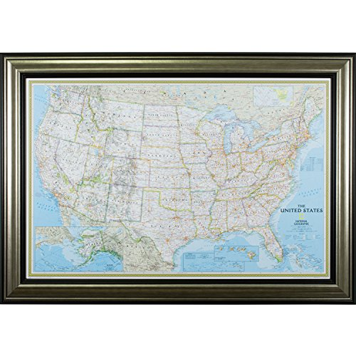 Craig Frames Wayfarer, Classic United States Push Pin Travel Map, Antique Silver and Black Frame with Pins, 24 by (Antique Four Poster)