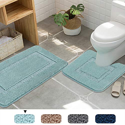 Non-Slip Mat Rugs Maximum Absorbency Machine Washable Tufted Bath Mat for Bathroom/Living Room- Set of 2 (20