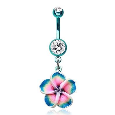 Amazon Com Colorline Hawaiian Plumeria Flower Belly Button Ring