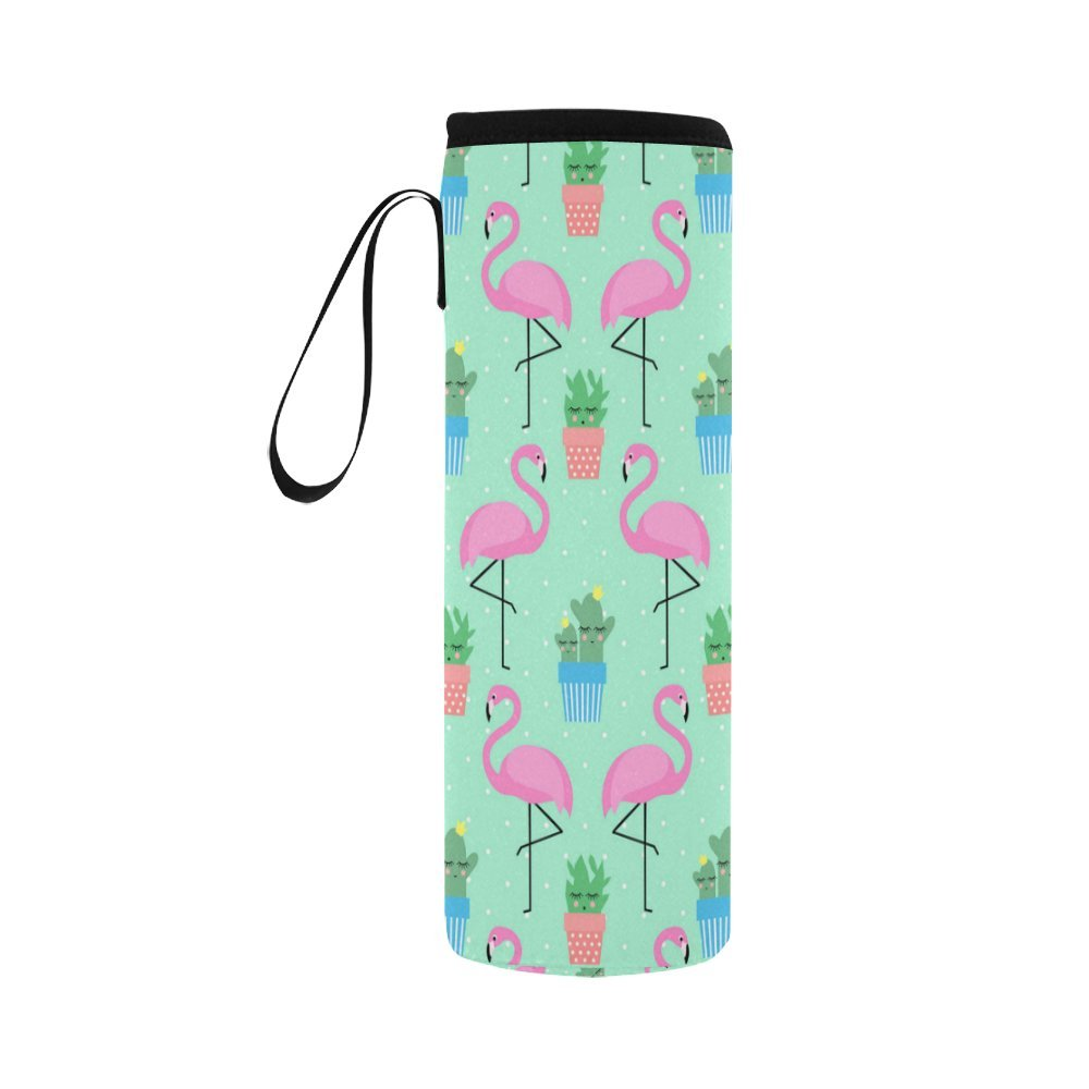 InterestPrint Pink Flamingo with Cactus Neoprene Water Bottle Sleeve Insulated Holder Bag 16.90oz-21.12oz, Bird Cute Pots Sport Outdoor Protable Cooler Carrier Case Pouch Cover with Handle