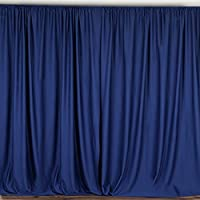 BalsaCircle 10 feet x 10 feet Navy Blue Polyester Backdrop Drapes Curtains Panels - Wedding Ceremony Party Home Window Decorations