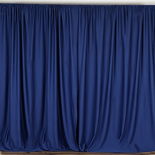 BalsaCircle 10 ft x 10 ft Polyester Professional Backdrop Curtains - Navy Blue