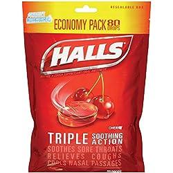 HALLS Cough Drops, (Cherry, 80 Drops, 12-Pack)
