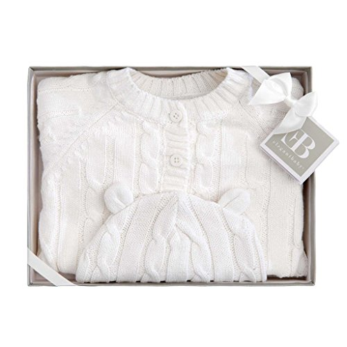 Elegant Baby Boxed Classic Cable Sweater and Hat Set, 0-6M, White