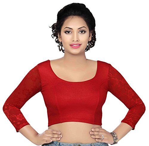 trendyfashionmall-long-lace-sleeve-red-lycra-stretchable-blouse-xl44
