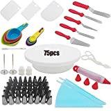 75pcs Cake Decorating Supplies Kit for beginner.Cake Turntable Stand,48 PCS Icing Tips,2 Pastry Bags,2 Cake Flower Nail,4 Icing & Angled Spatula,5 Measuring Spoons,4 Cups and More Accessories!