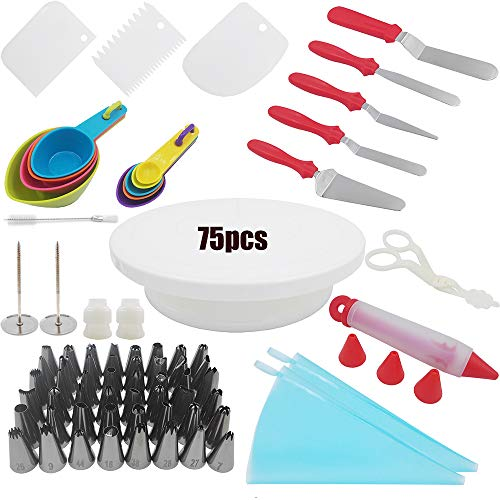 75pcs Cake Decorating Supplies Kit for beginner.Cake Turntable Stand,48 PCS Icing Tips,2 Pastry Bags,2 Cake Flower Nail,4 Icing & Angled Spatula,5 Measuring Spoons,4 Cups and More Accessories! by FunWhale