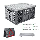 #4: Car Trunk Multifunctional Organizer Alisaouse Folding Flat Storage 28 Liter Plastic Collapsible Box Utility Crate with Waterproof Bag for Automobile Fishing Pets Shopping&Cargo Basket