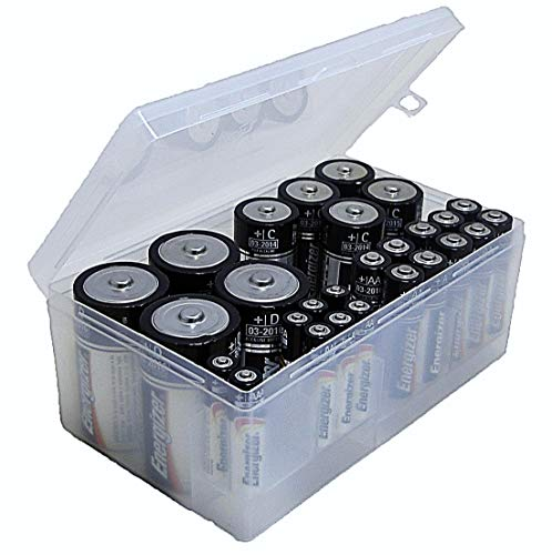 (Dial Industries B331FN Battery Organizer Case 12 AAA, 12 AA, 6 C, 4 D Clear)