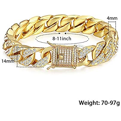 ZUOZUO Leather Wristband 14Mm Men S Bracelet Hip Hop Link Gold Silver Iced Dew Rhinestone Men S Wristband Street Estimated Price £36.99 -