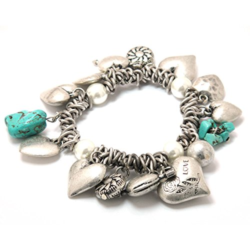 Stone Stretch Bracelet (TURQUOISE/SULVER) ()
