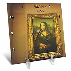 3dRose dc_31079_1 Mona Lisa-Desk Clock, 6 by 6-Inch