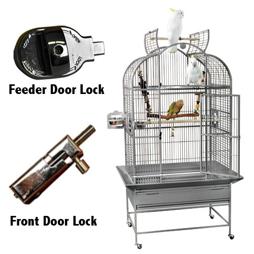 (King's Cages Superior Line Parrot Cage SLT 3223 NEW / GC6-3223 Bird Cage 32X23X64 bird cage toys (GREY/SILVER))