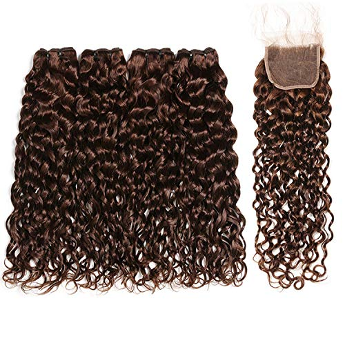 - Brazilian Water Wave Bundles With Closure Light/Dark Brown Colored Human Hair Bundles With Closure Baby Hair Non Remy Romantico,20 20 22 22 & closure18,#2,Middle Part