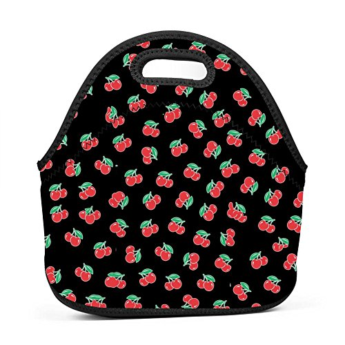 Cute Cerise Cherry Lunch Bag Multifunction Bento Pouch Student Worker Travel Mummy Lunchbox Portable Satchel Baby Bag - Cerise Foil