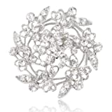 EVER FAITH Austrian Crystal Bridal Heart Flower Filigree Brooch Clear Silver-Tone