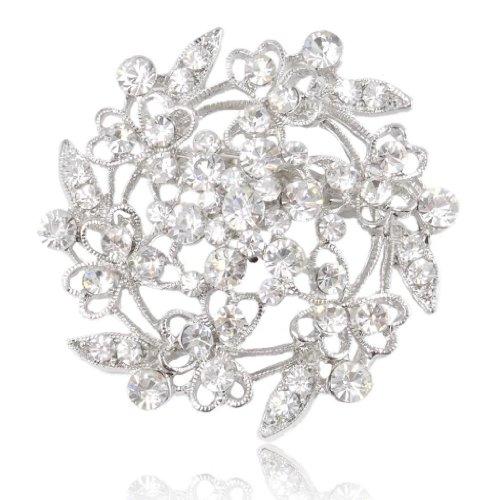 EVER FAITH Austrian Crystal Bridal Heart Flower Filigree Brooch Clear Silver-Tone (Austrian Crystal Heart Brooch)