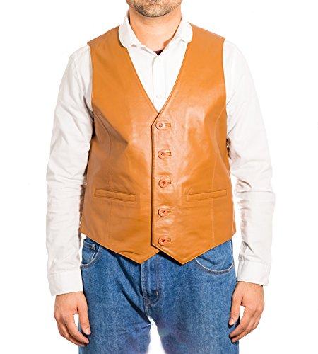 classico di uomo bottoni Gilet tre con pelle in Fashion Bronzer da CwPIfIqx05