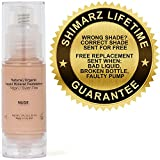 Shimarz Mineral Liquid Foundation, Covers Uneven Skin Tone, Rosacea, Blemishes, Rashes, Acne, Dark Circles, Pores, With Full Coverage That Lasts All Day With No Irritation To Sensitive Skin - Nude