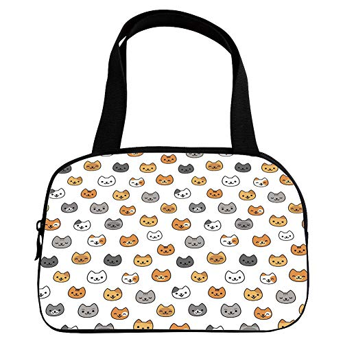 Increase Capacity Small Handbag Pink,Nursery,Happy Funny Kittens in Smiling Animals Cute Eyes Decorative,Grey Pale Brown Pale Orange,for Girls,3D Print Design.6.3