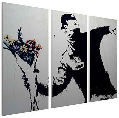 (Pingo World 0121PUW0OLM Flower Thrower Gallery Wrapped Canvas Triptych Art 48