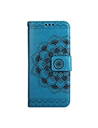 CUSKING Wallet Case for Samsung Galaxy S8, Leather Case Magnetic Stand Bumper Case with Card Holders and Hand Wrist - Blue